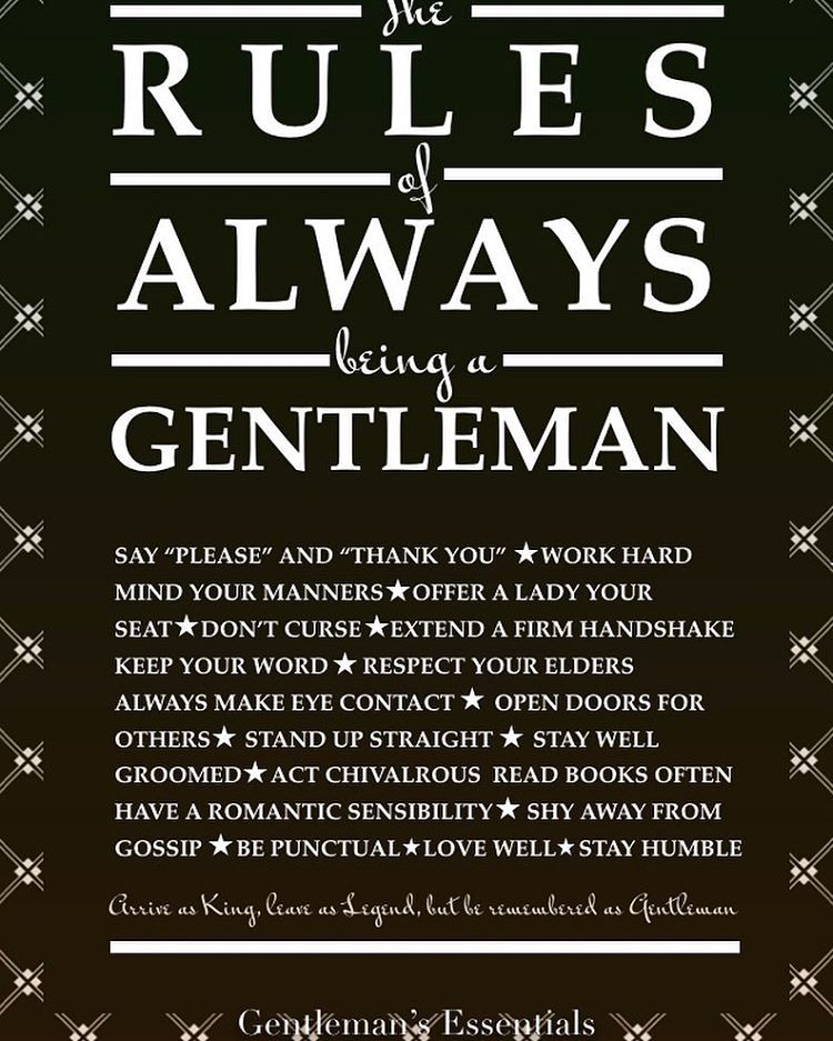 Gentleman manners chivalry