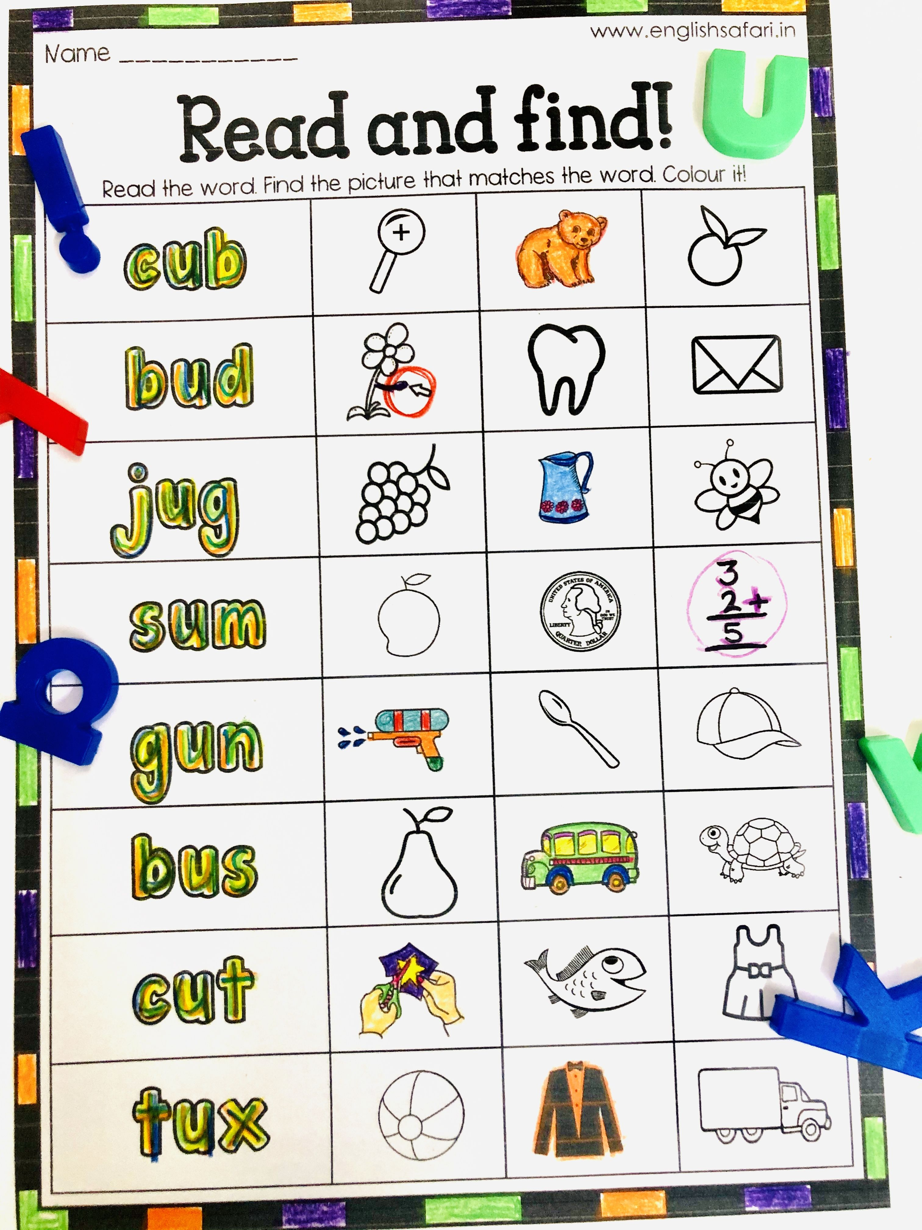 A Pack Of 5 Worksheets For Short Vowel A E I O U Read The