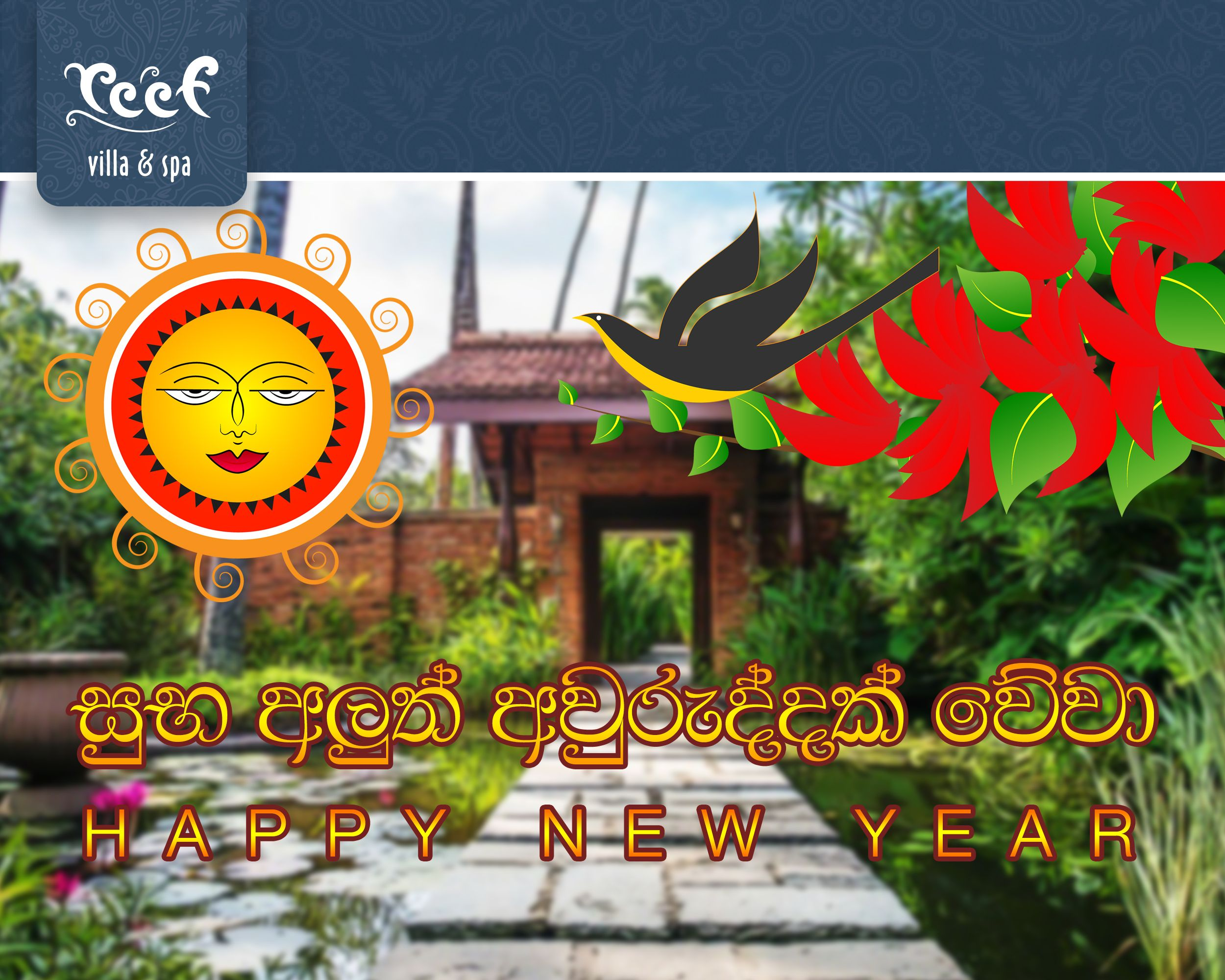 Happy Sinhala and Tamil New Year Tropical beach, Sri