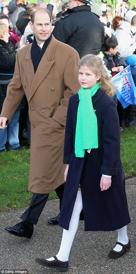 December 25, 2014 - The Queen's son, Edward, the Earl of Wessex, with his daughter, Lady Louise Windsor