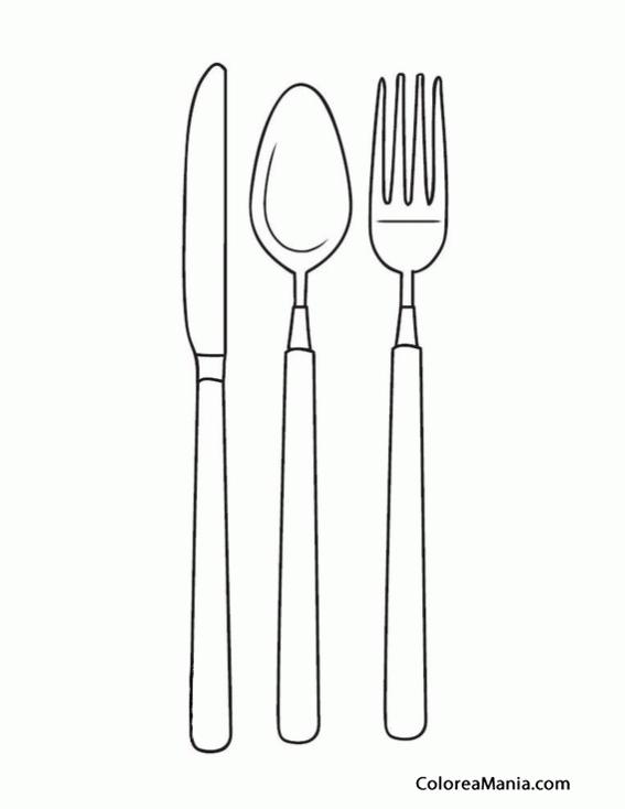 Colorear Cubiertos Cuchillo Cuchara Tenedor Cucharas Tenedor Cuchara Dibujo