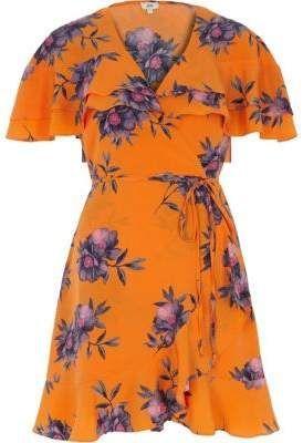 ee7deb2386ccd River Island Womens Petite orange floral print wrap tea dress | Shop ...