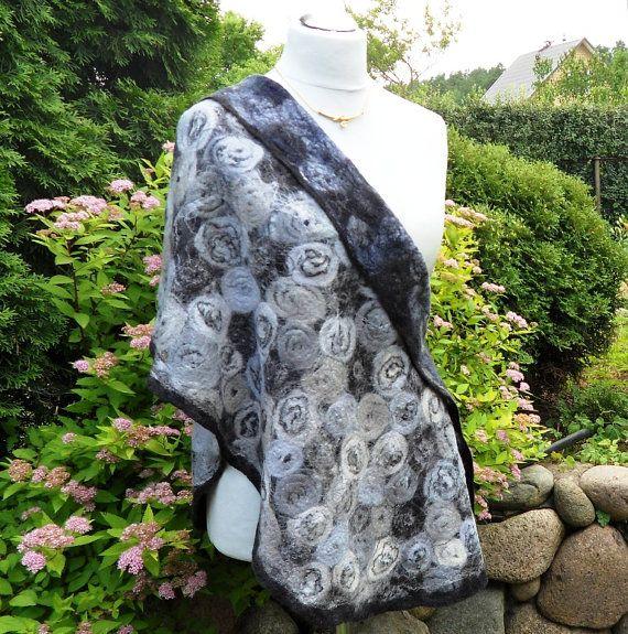 Felted shawl wool Black ,  Grey Handmade Felt/  / Size:Length 190 cm(77,9). Width 50 cm.(19,7)