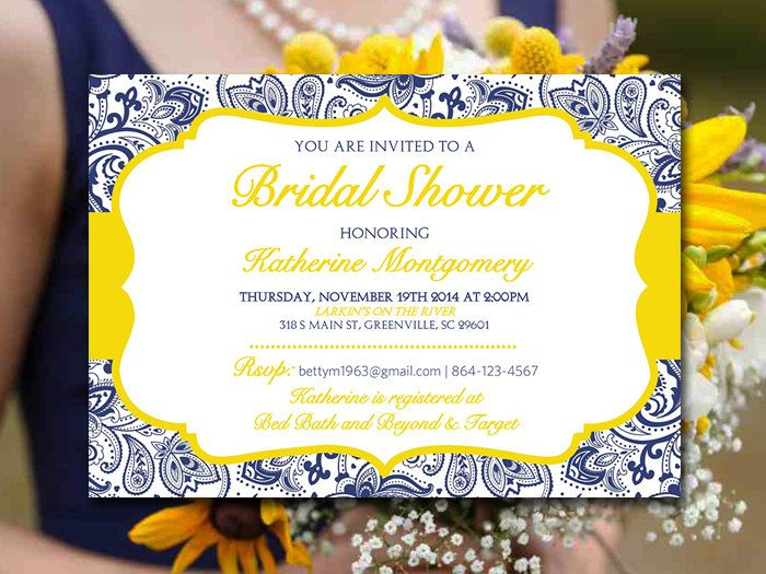 Blue And Yellow Wedding Invitations: Bridal Shower Invitation Template