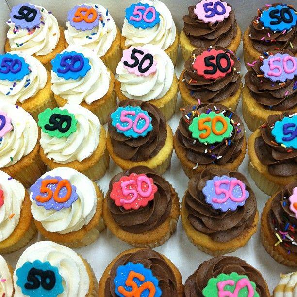 50th Birthday Cupcakes #50 #flourandsun #cupcake