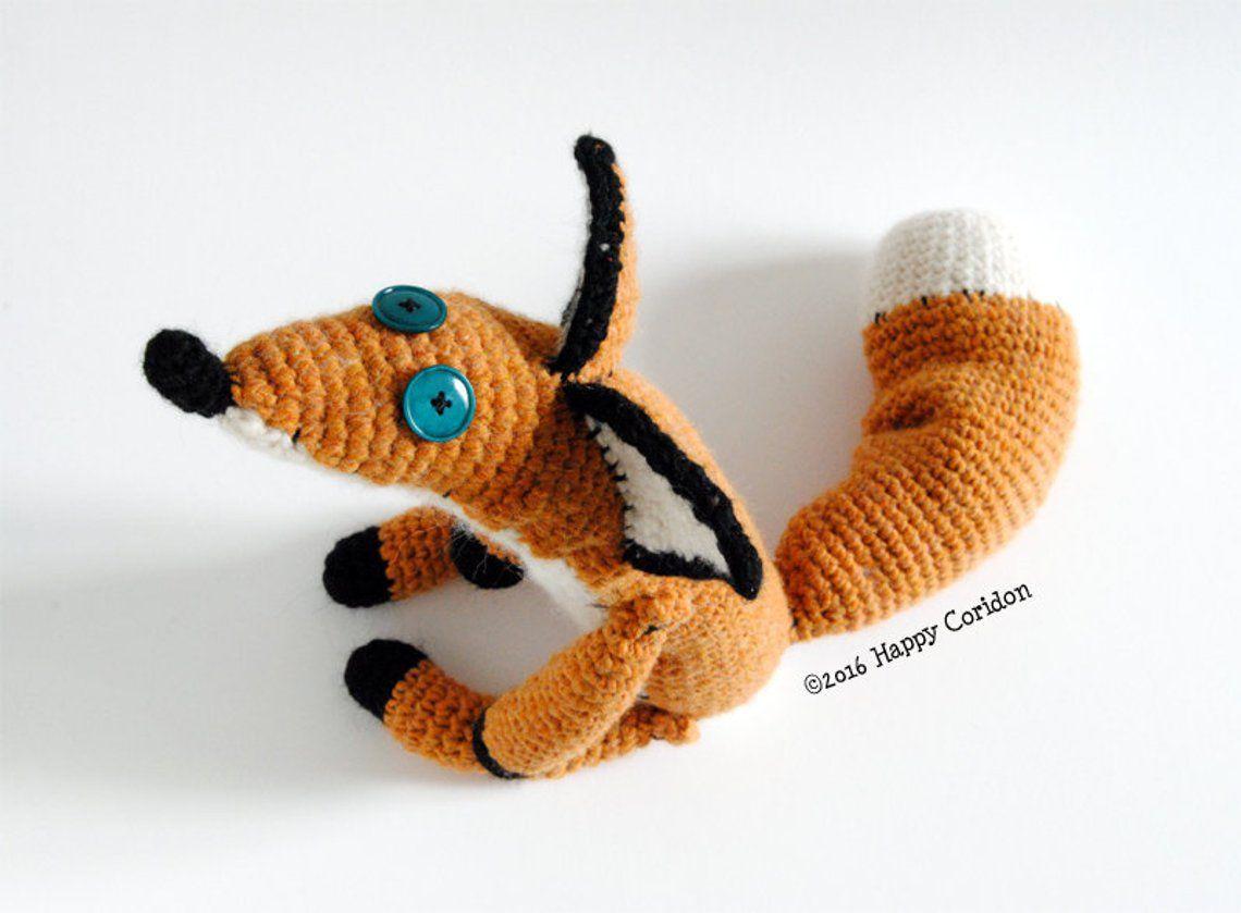 Toy amigurumi fox pdf, crochet small fox, pattern red fox ... | 839x1140