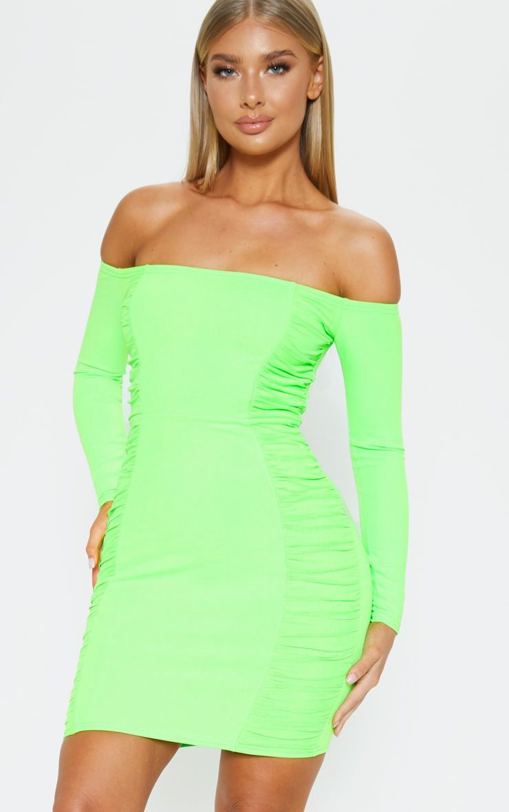 30e4558d879f Neon Lime Bardot Ruched Side Panel Bodycon Dress in 2019 | Products ...