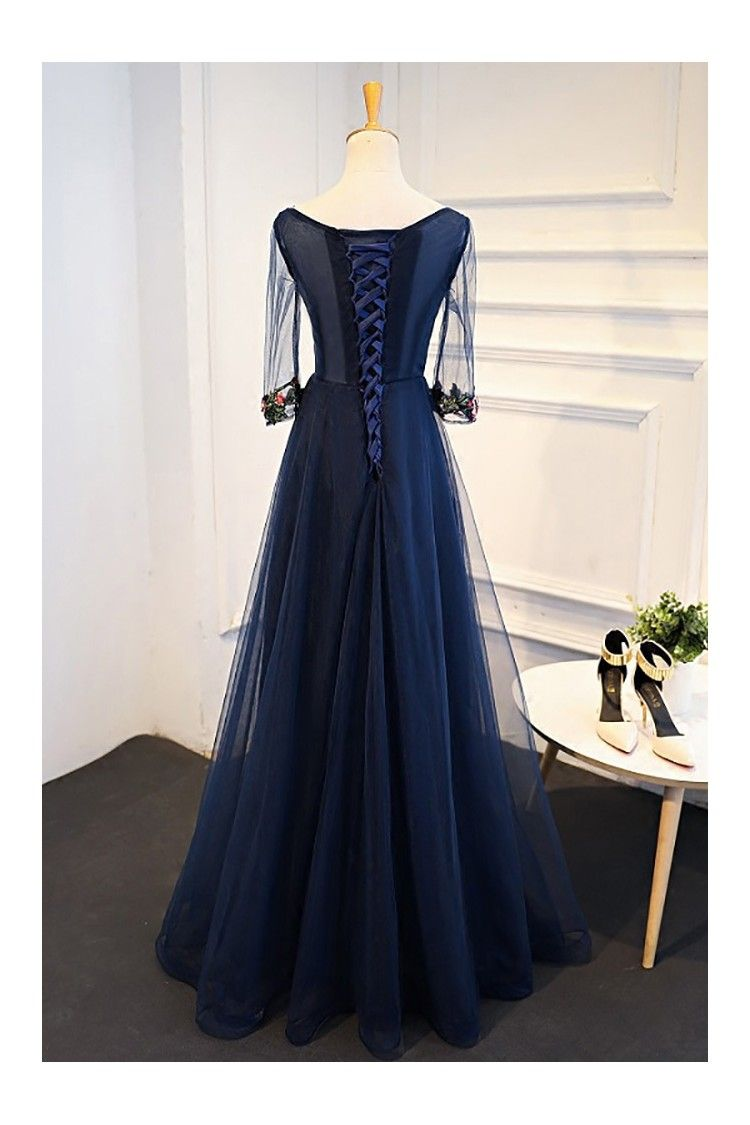 Uniuqe navy blue long tulle prom dress sleeves with flowers