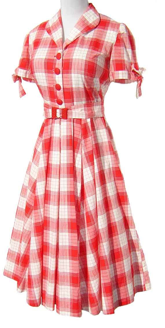 125be4b1da28 Vintage '50s Dress Red & White Cotton Plaid - I must say, the 50's had some  lovely clothes. <3