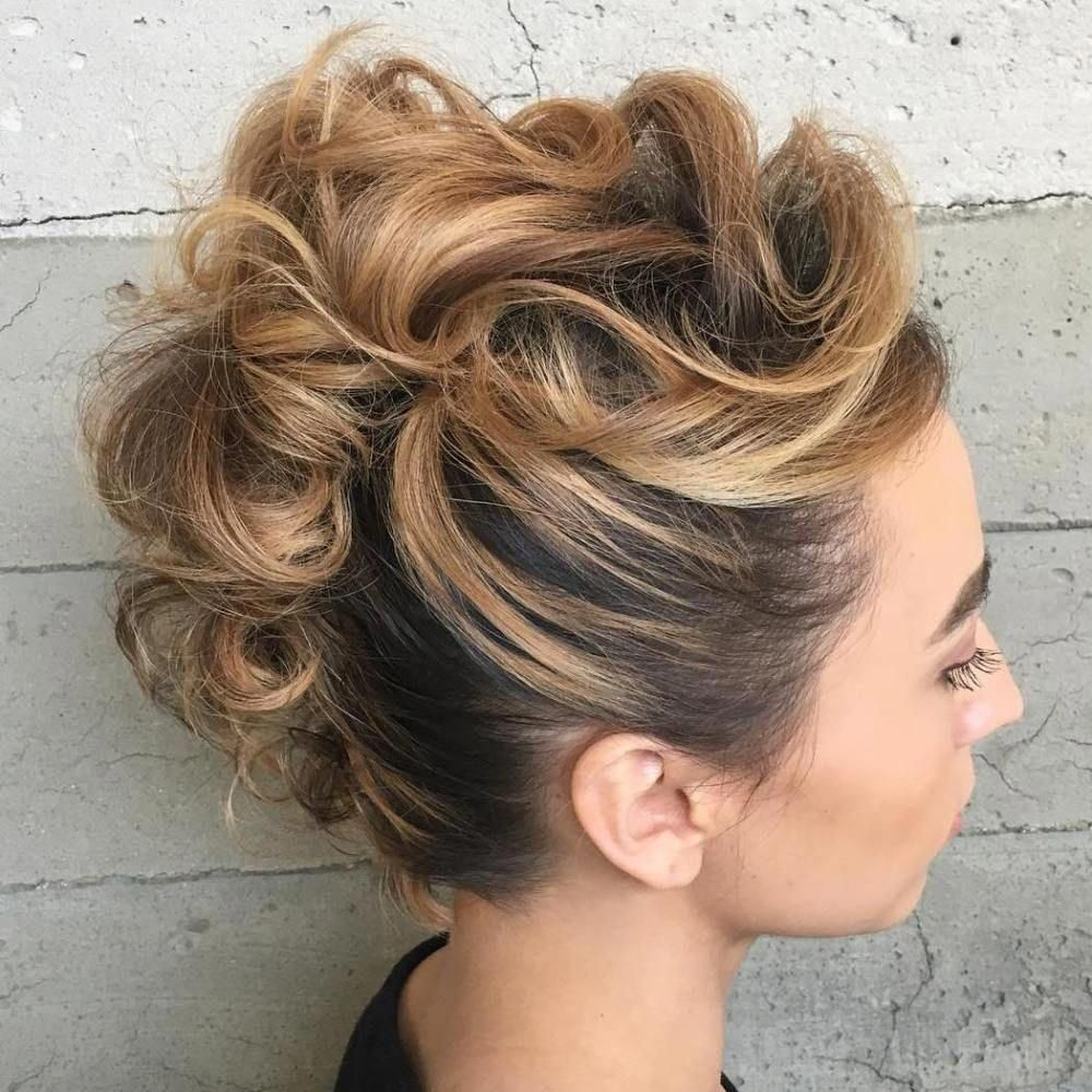 Mohawk updo for shorter hair curlypromhairstyles beautiful prom