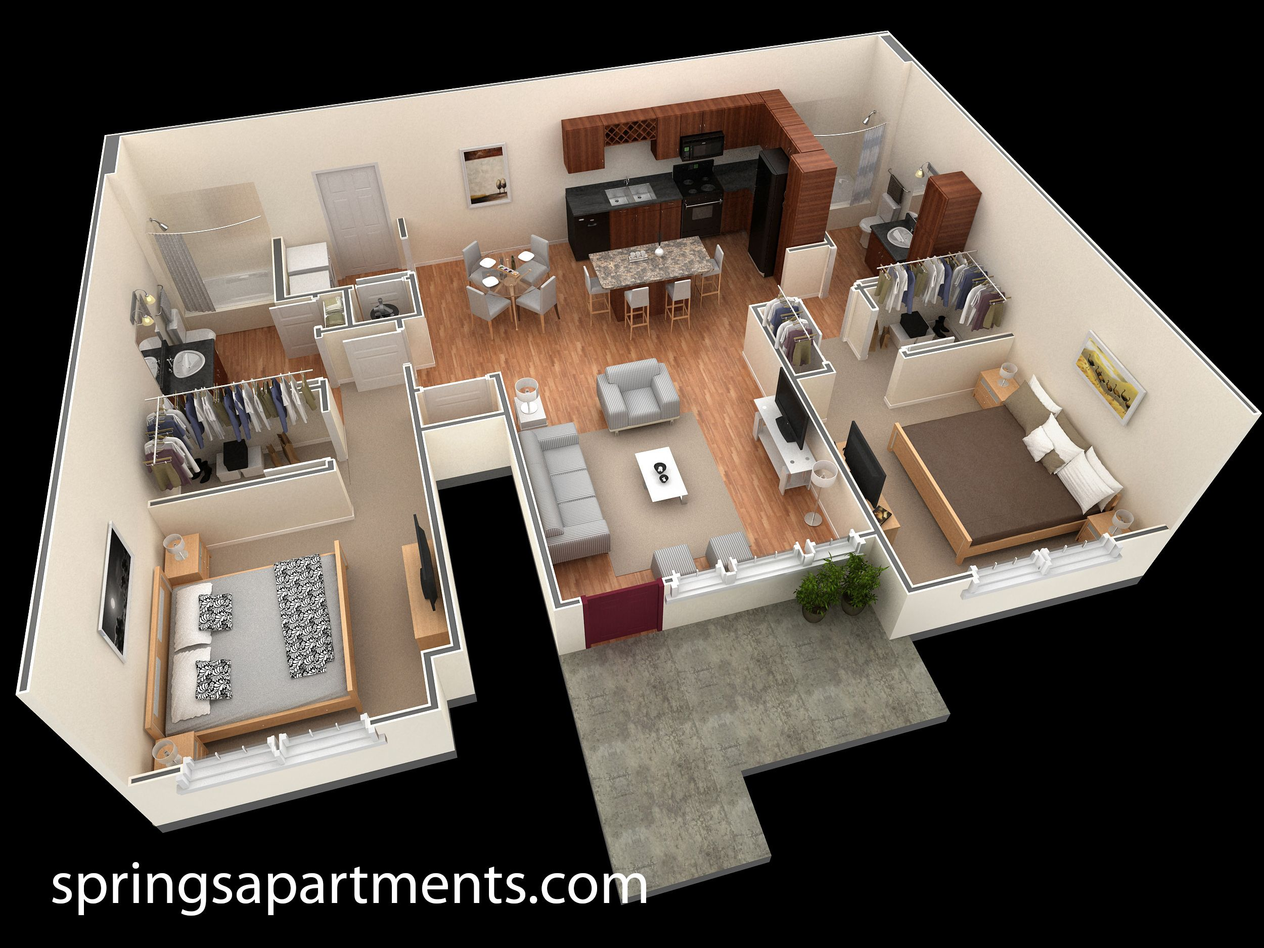 2 Bedroom 2 Bath 1088 Sf At Springs At Creekside This 2 Bedroom Designer Overlook Apartment Comes With 2 Small House Design Sf Apartment Spacious Living Room