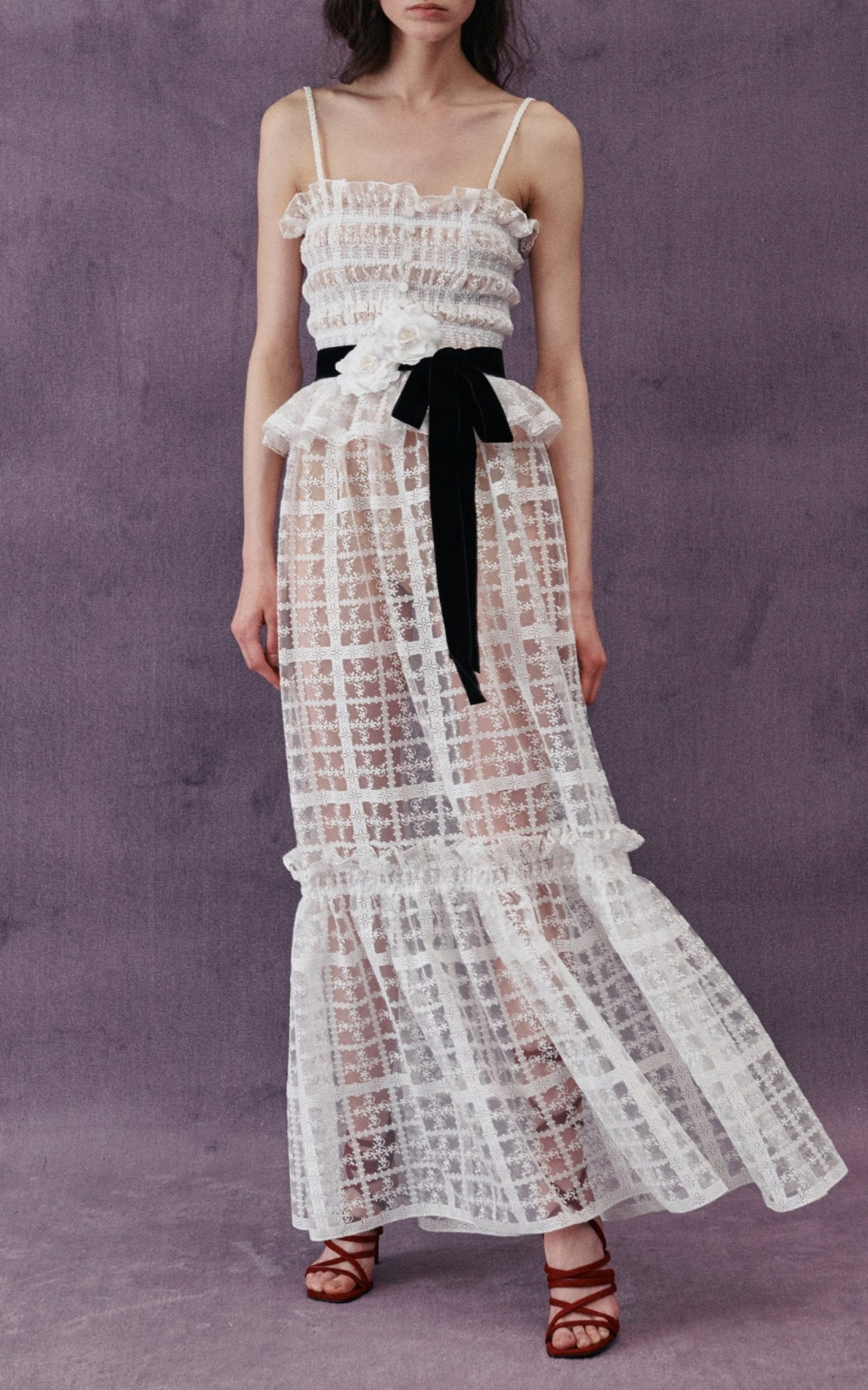 Philosophy Di Lorenzo Serafini Lace Trimmed Shirred Tulle Peplum Dress We Select Dresses Peplum Maxi Dress Lace Dress Dresses