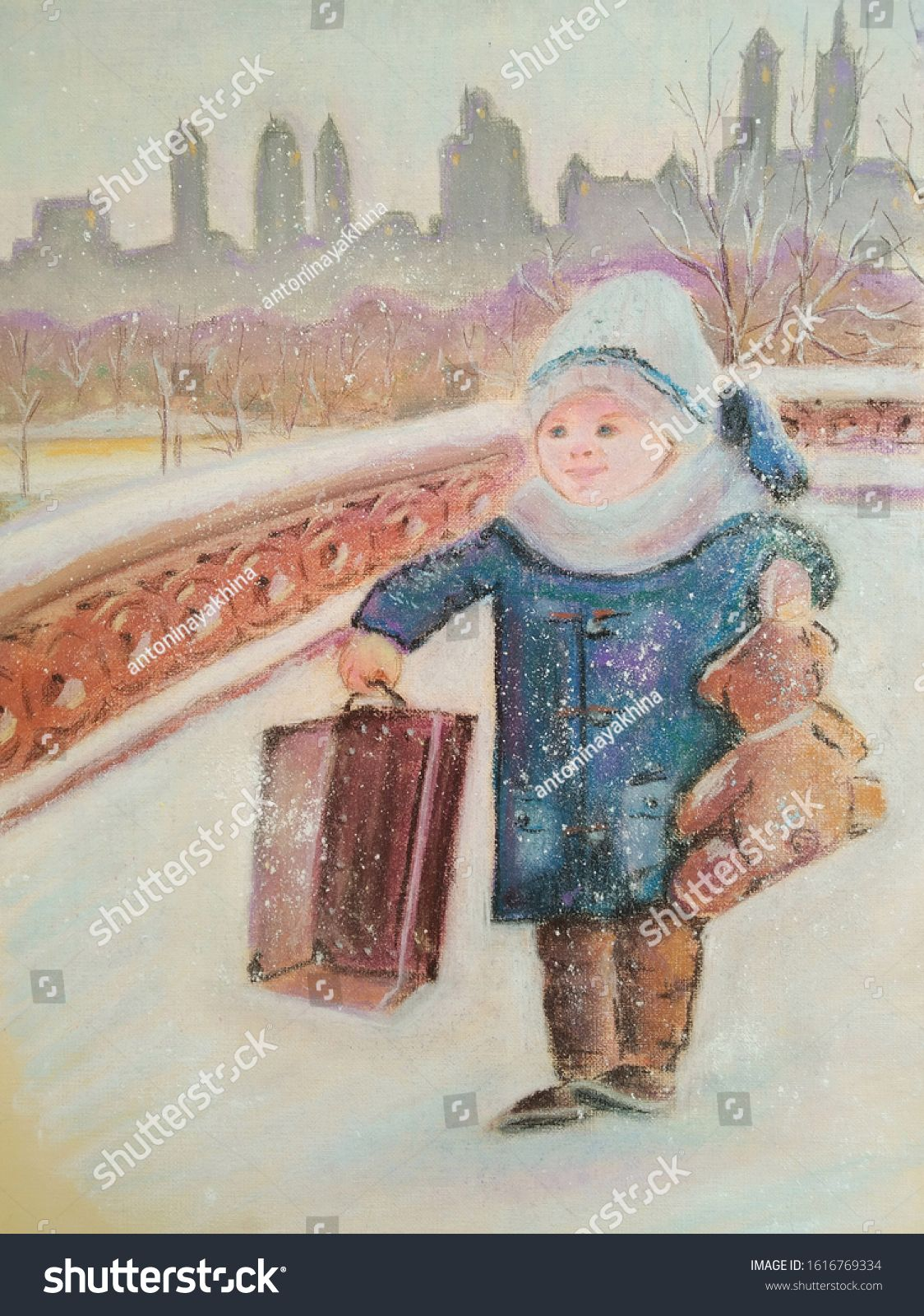 \nthe pastel illustration depicts a little boy who with a suitcase and a bear on a winter day walks in the central park of New York #Sponsored , #Sponsored, #depicts#boy#suitcase#nthe