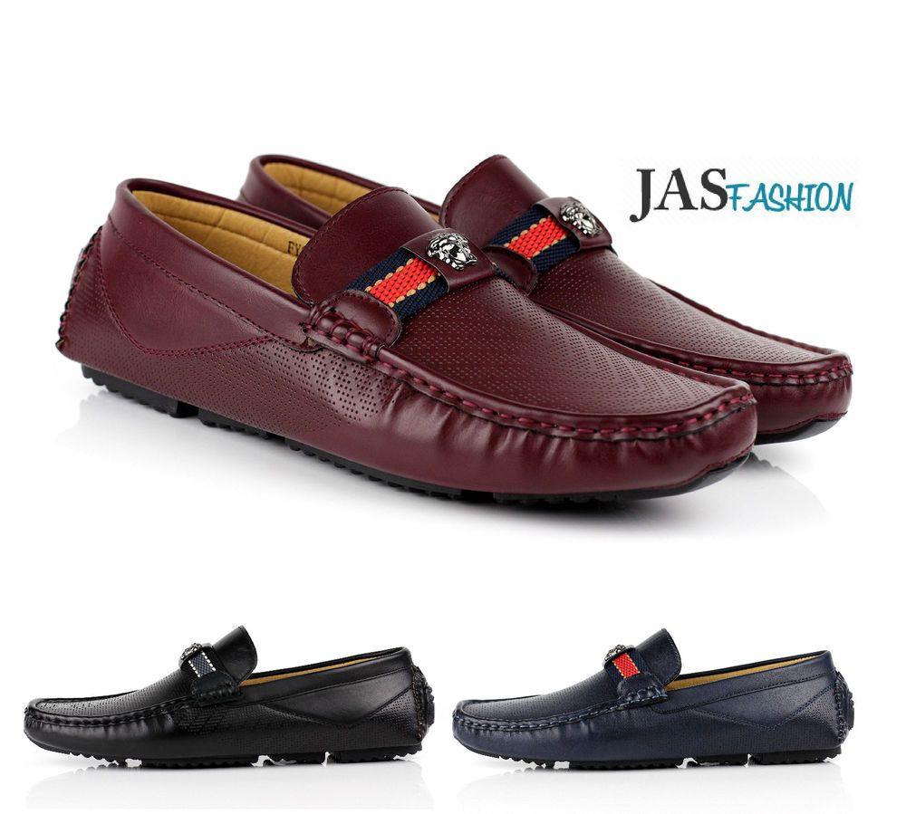 afb76bc0626 Mens Slip On Driving Shoes Italian Designer Loafers Casual Style Smart  Moccasin