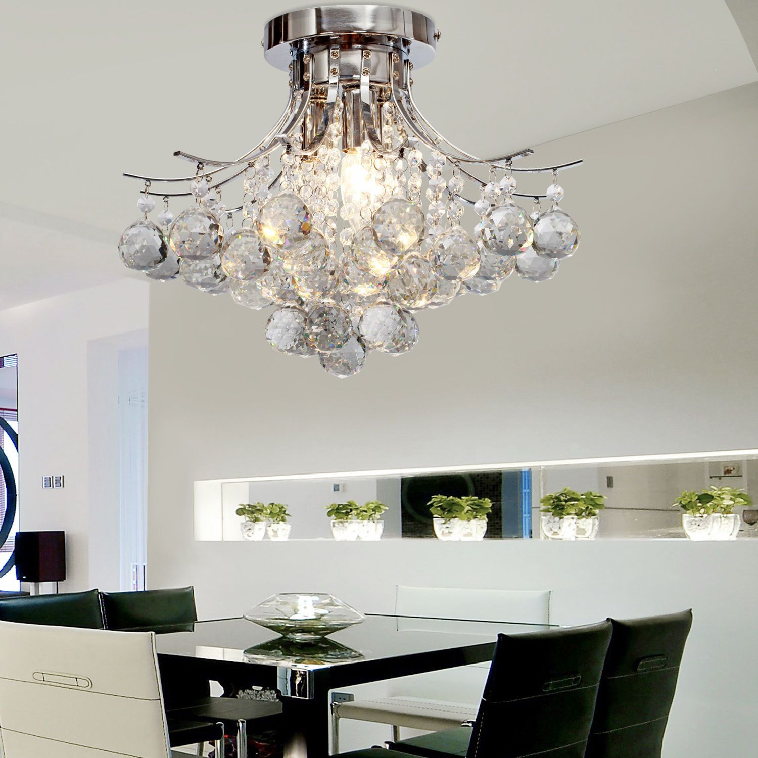 LOCO Modern Crystal Chandelier with 6 Lights Modern Ceiling Light