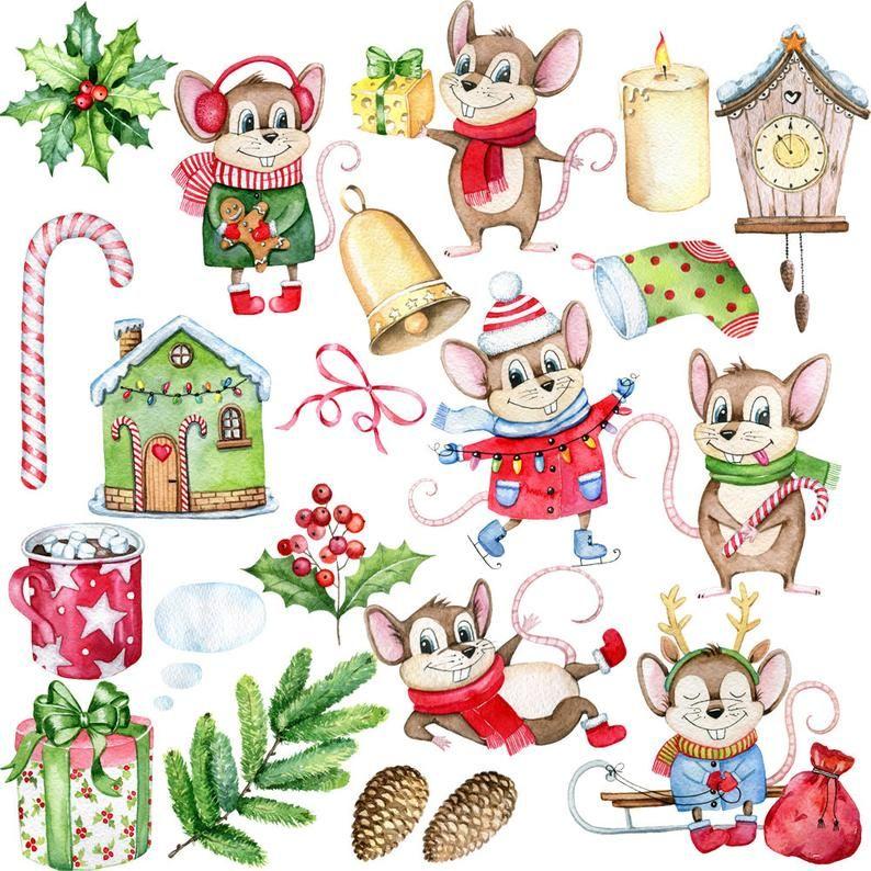 Watercolor Christmas Clipartchristmas Animalschristmas Etsy Christmas Watercolor Christmas Clipart Christmas Animals