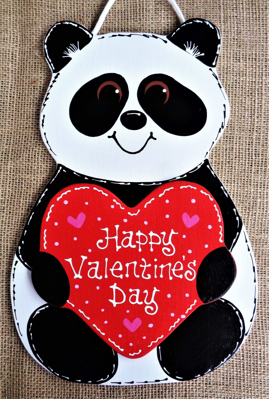 Happy Valentine S Day Panda Bear Sign Wall Art Door Hanger