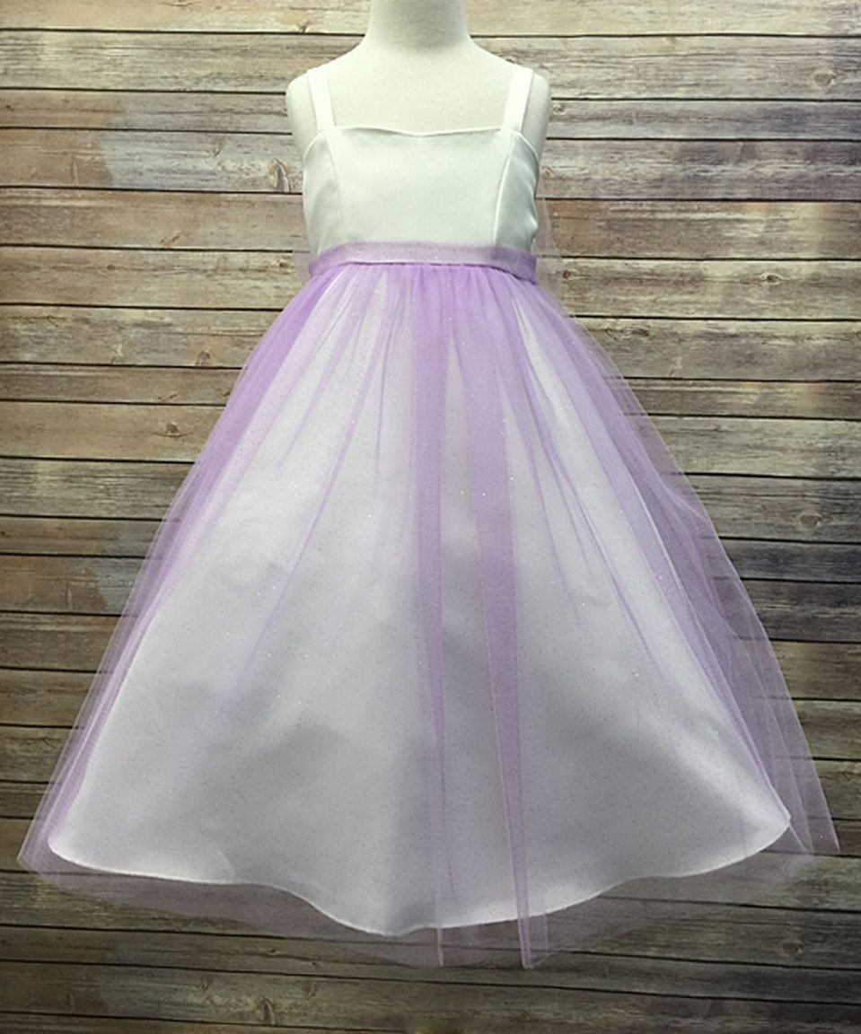 Loving this Petite Adele Ivory & Lilac Glitter-Overlay Dress - Girls on #zulily! #zulilyfinds