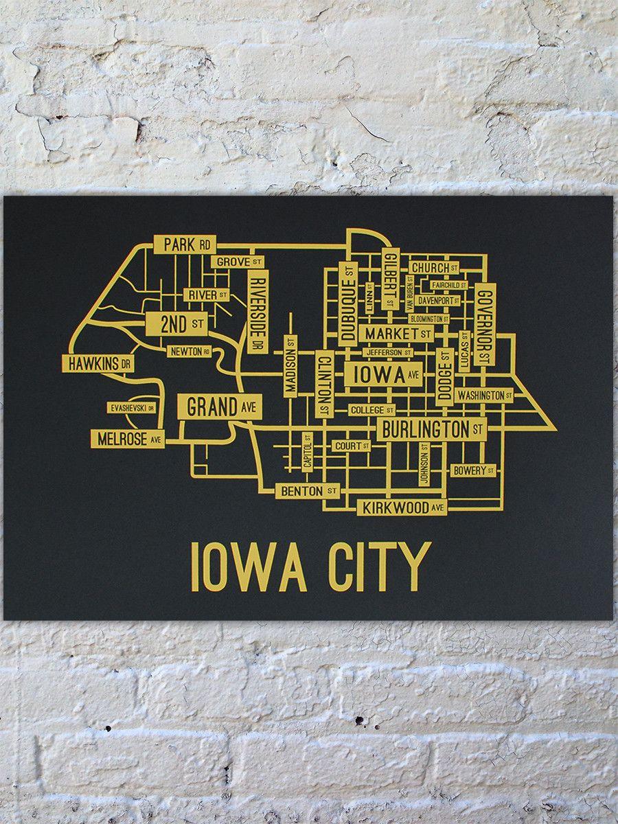 Iowa City Iowa Street Map Print Iowa City Map Iowa Iowa City Iowa