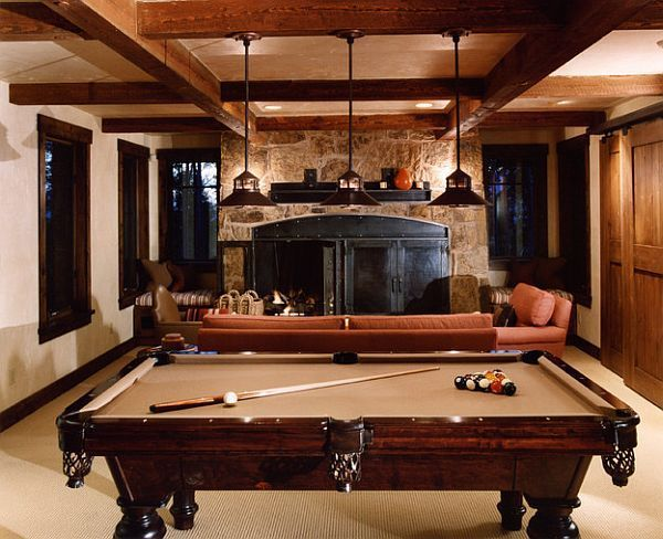 Ideas For Pool Table Room view in gallery cone pendants enhance the dreamy blue shades of the pool table Pool Table Room Ideas Rustic Rec Room With Pool Table