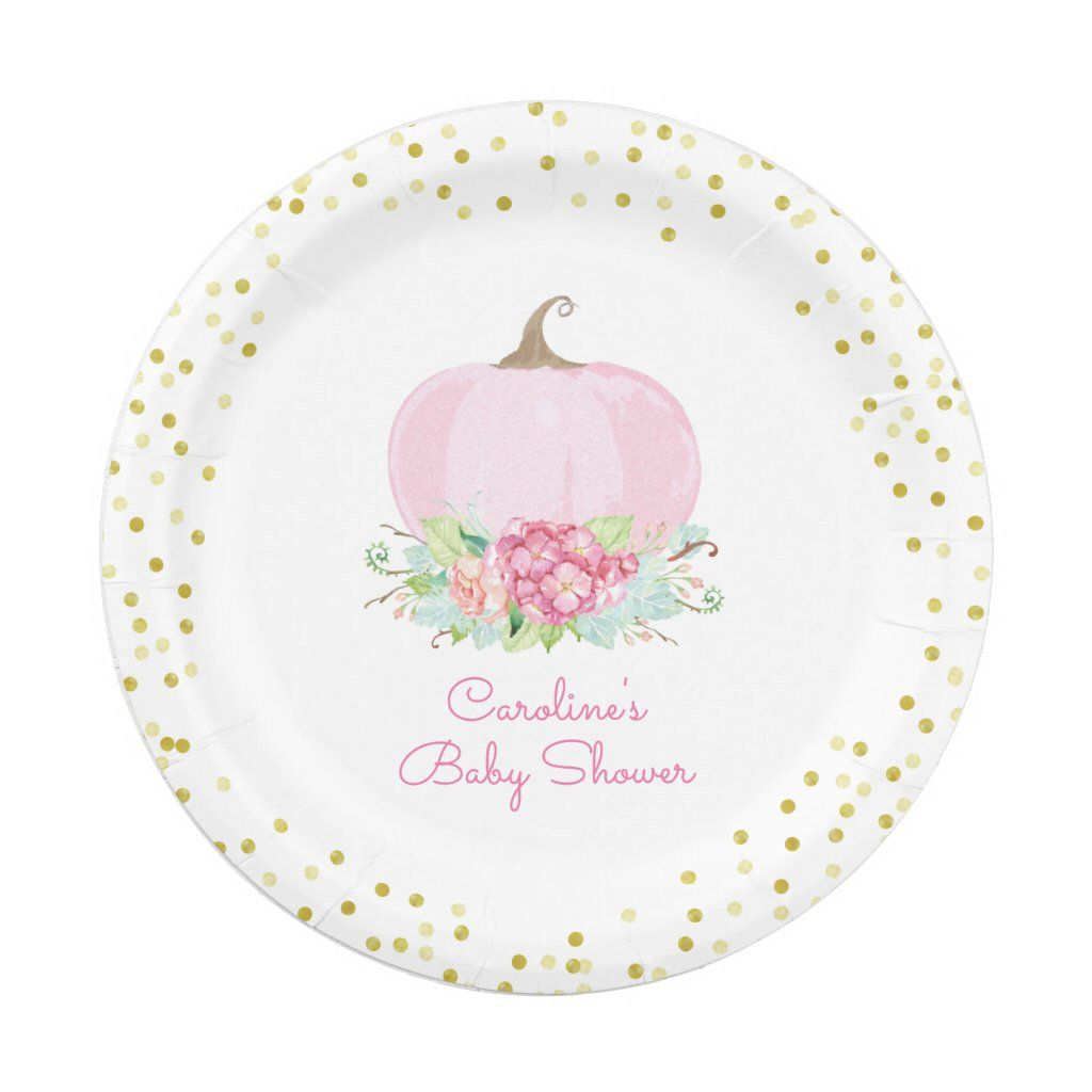 Pink Pumpkin Baby Shower Watercolor Floral 8 paper plates