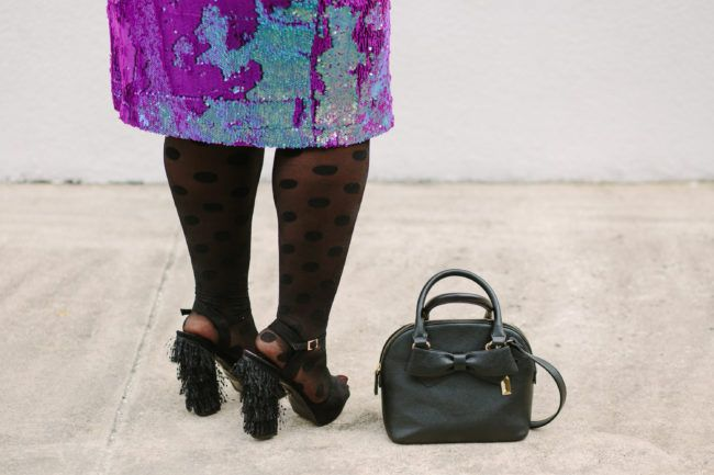 Musings of a Curvy Lady, Plus Size Fashion, Fashion Blogger, Simply Be, Sequin Skirt, Girl Gang, Graphic Tee, Polka dot tights, statement platforms