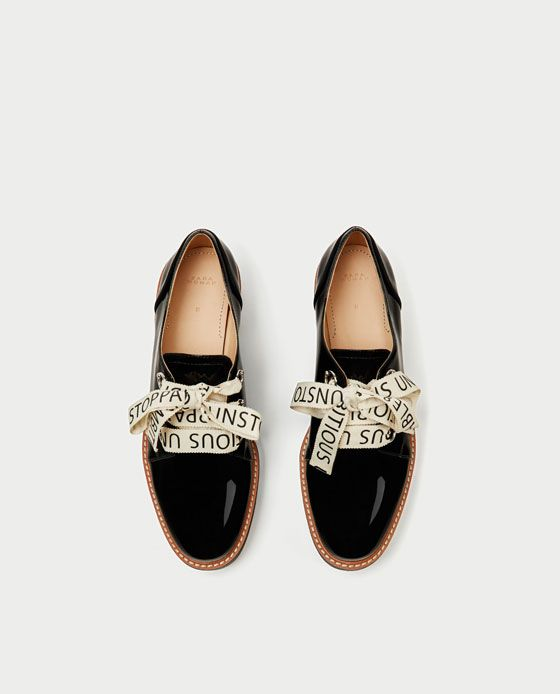 FAUX PATENT BROGUES WITH SLOGAN PRINT BOW - Flat Shoes-SHOES-WOMAN