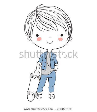 Boy With A Skateboard Cute Drawings Cartoon Drawings Doodle Drawings