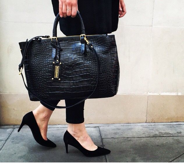 422fe038a31b Russell and Bromley Lancaster tote bag in black crocodile effect leather