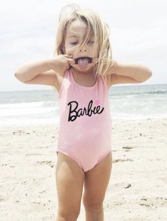 56d012d3d5d30 Super cute Barbie swimsuit for toddlers! | Cartoon Letters Pattern Romper  Swimsuit | little girl fashion | swimwear | barbie | kids fashion | toddler  ...