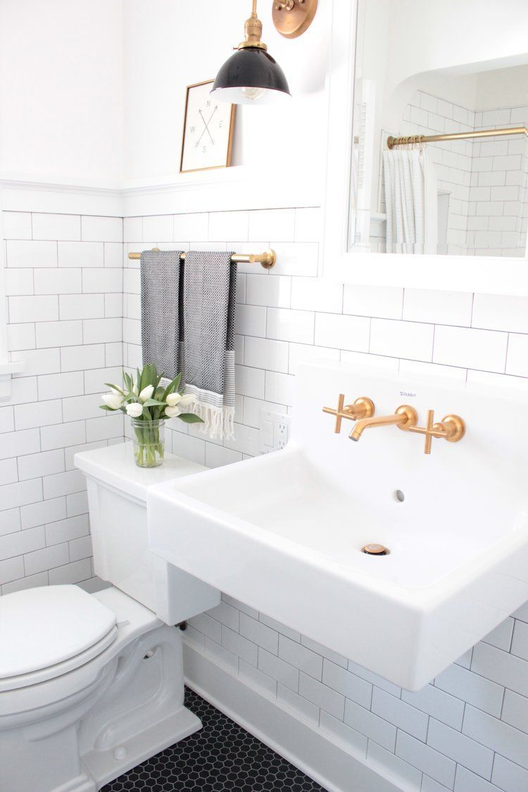 Charmant DP Building Spokane WA Bathroom Remodel White Subway Tile Black Hexagon  Tile Kohler Purist Faucet Revival