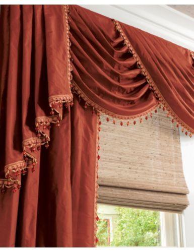 Traditional Swag Fabric Valance in 14587 Silk Dupioni/ Henna