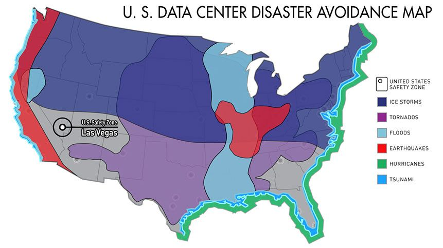United States Data Center Disaster Avoidance Map Las Vegas US - Us natural disaster map