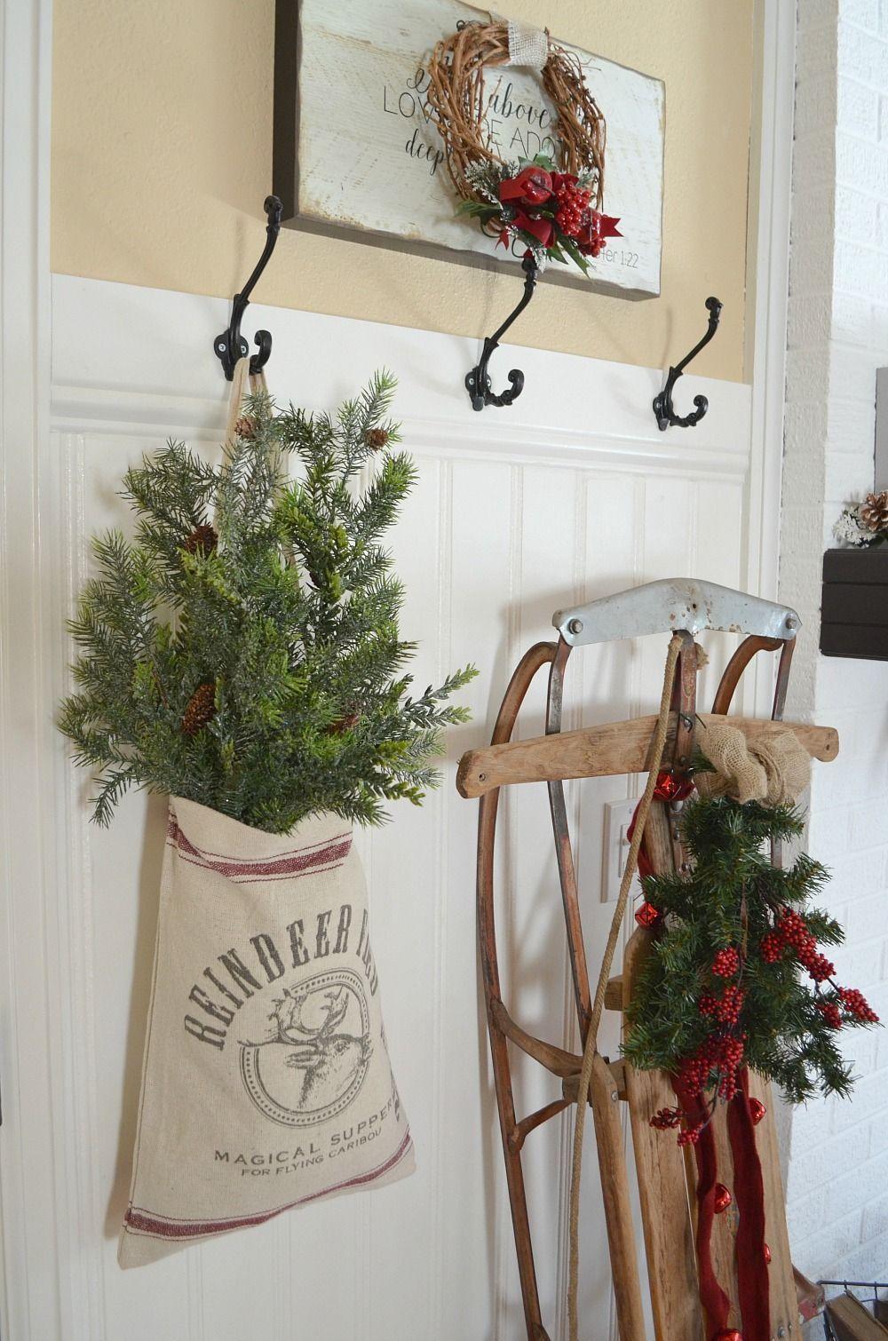 a vintage christmas entryway farmhouse christmas decor vintage sled christmas decor - Farmhouse Christmas Decor Pinterest
