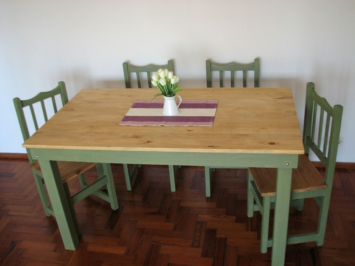 Mesa cocina comedor 1 20 x 0 70 pino pintada ideas for Juego mesa cocina
