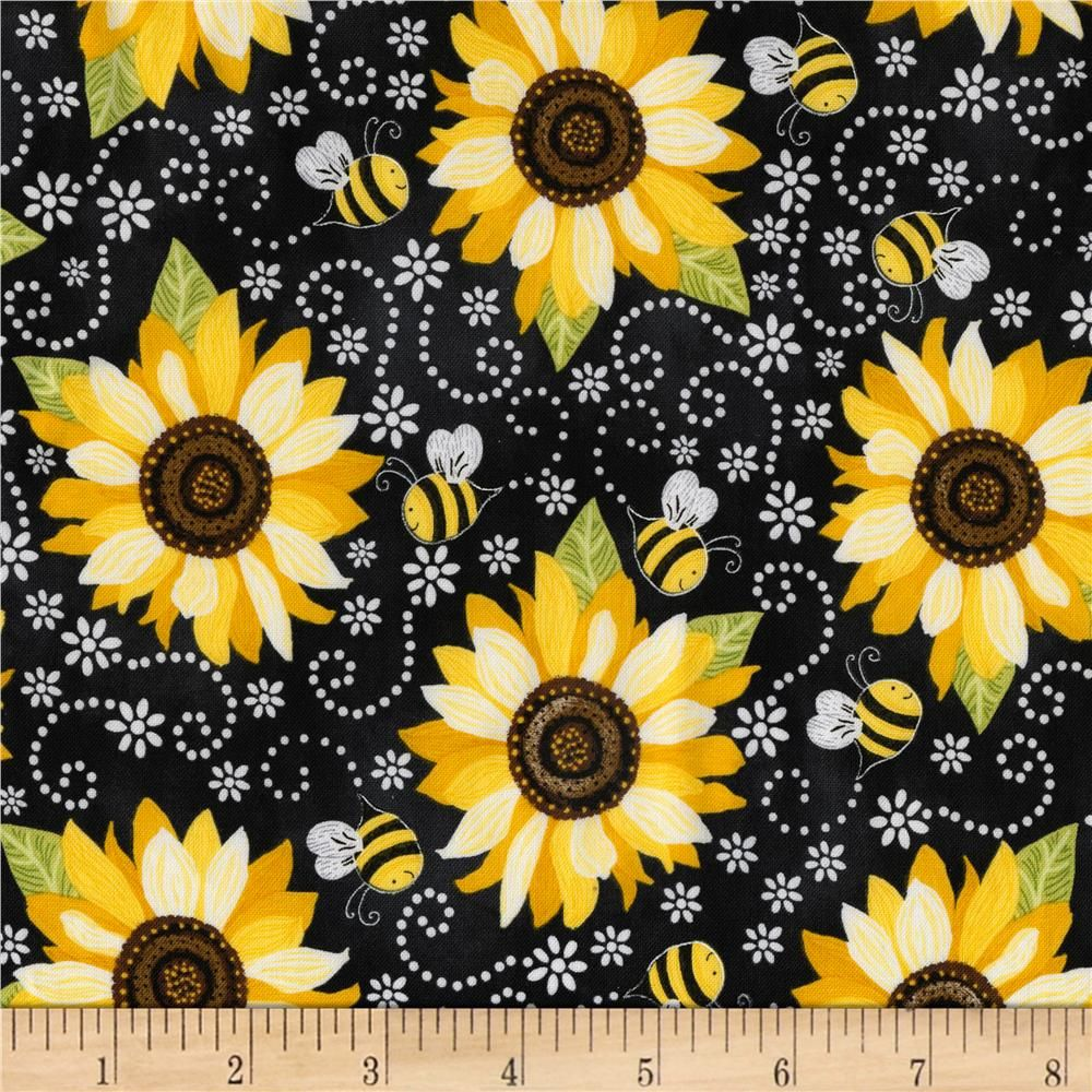 Oilcloth Fabric Bright Sunflowers White Pattern Sold in Yard or Bolt
