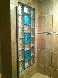 Gl Block Shower Window With Colored Blocks