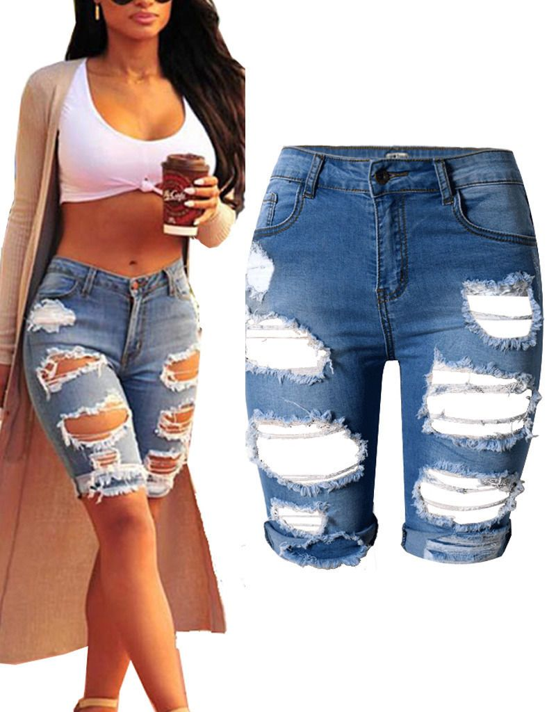 7849ac3ecb Womens High Waist Ripped Hole Denim Jeans Shorts Distressed Pants ...