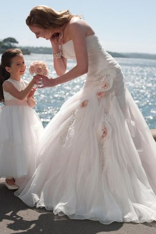 Unique Wedding Dress Strapless Mermaid Ruffled Bodice With Handmade Flowers And Beads,$274.66 | Promhope.com