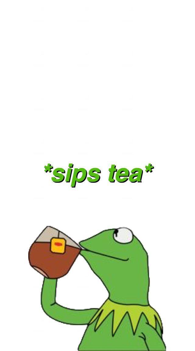Sips Tea Funny Phone Wallpaper Emoji Wallpaper Iconic Wallpaper
