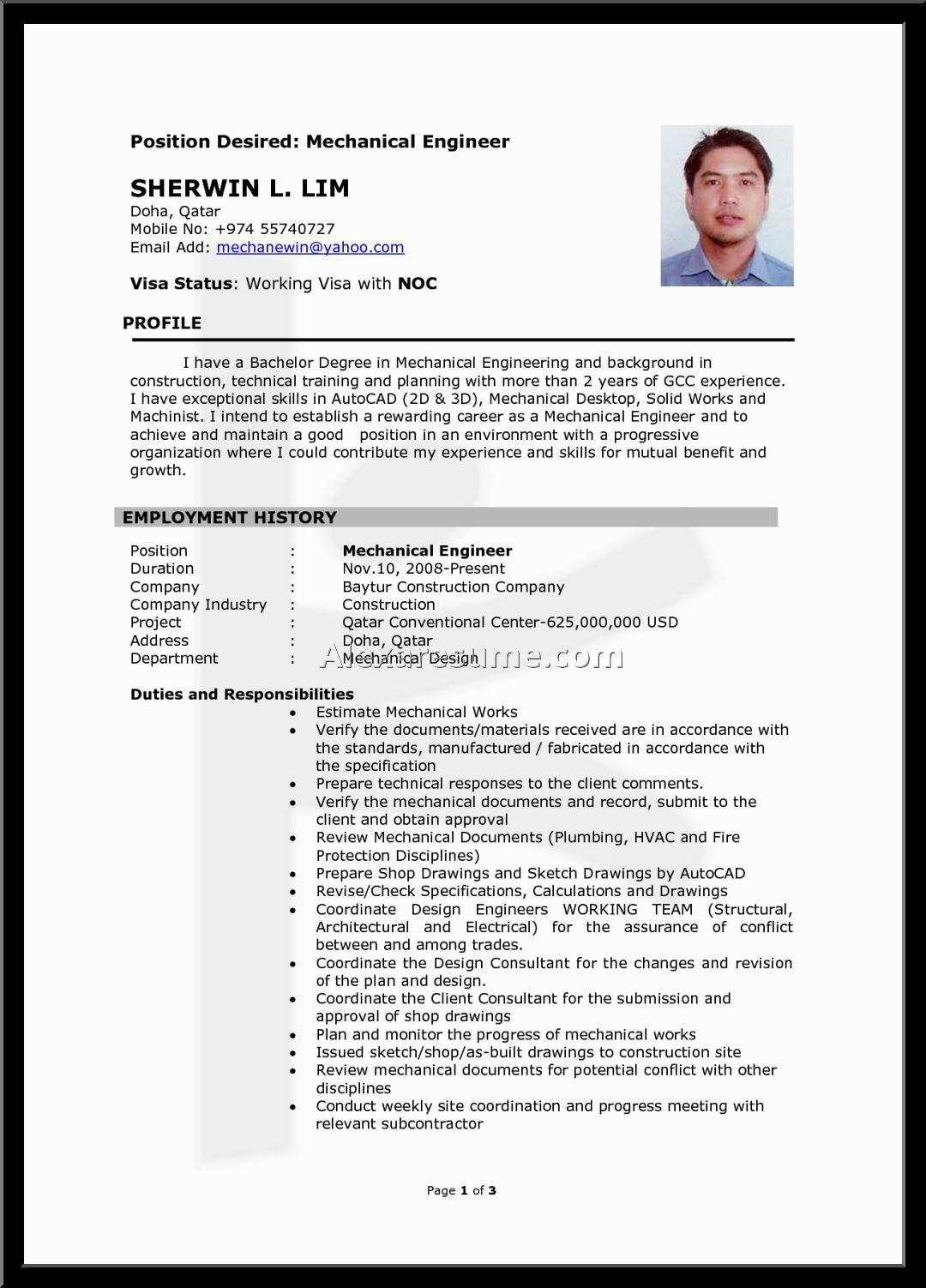 A C Technician Resume Format Resume Templates Resume Format Job Resume Format Resume