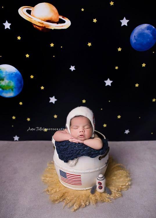 Solar System Photography Backdrop Astronaut Space Galaxy Stars Planets Newborn Photos Boy Newborn Photography Boy Baby Boy Newborn Pictures