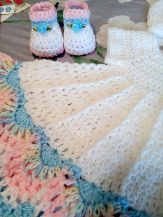 White crochet baby dress set with multi color trim comes with ...