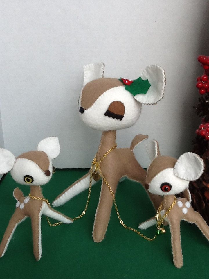 Kawaii Christmas Felt Plush Deer Mom And Twin Babies
