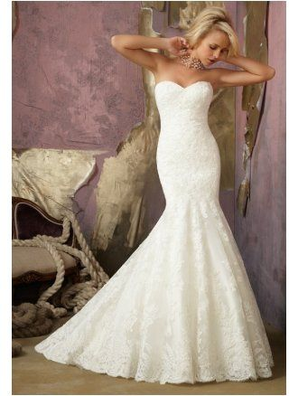Mori Lee 1862 Mermaid Style Bridal Gown Ivory Lace Size 14
