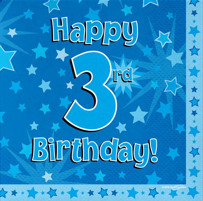 16 Pack Blue Boy 3 Today Happy 3rd Birthday Stars Luncheon Paper Napkin 3ply Birthday Boy Quotes Happy Birthday Wishes Messages Birthday Wishes Messages
