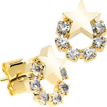 Gold Tone Stainless Steel Post Clear Wreath Star Earrings | Body Candy Body Jewelry