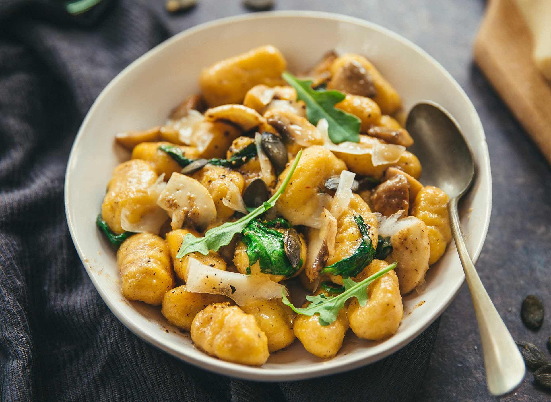 Gnocchis de potimarron aux champignons et parmesan ...