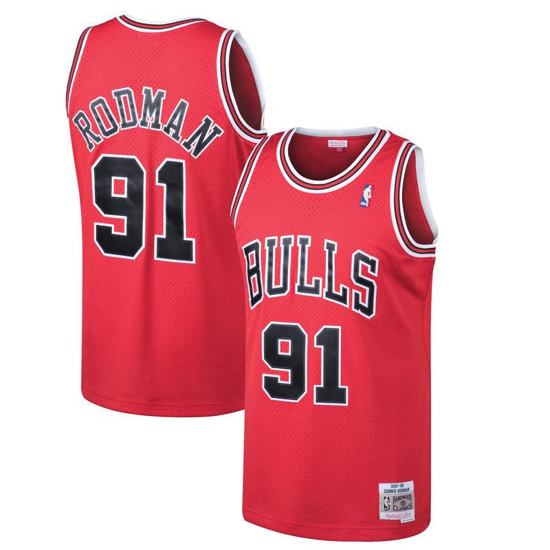 7b086e87dc7 Dennis Rodman Chicago Bulls Mitchell   Ness 1997-98 Hardwood Classics  Swingman Jersey - Red