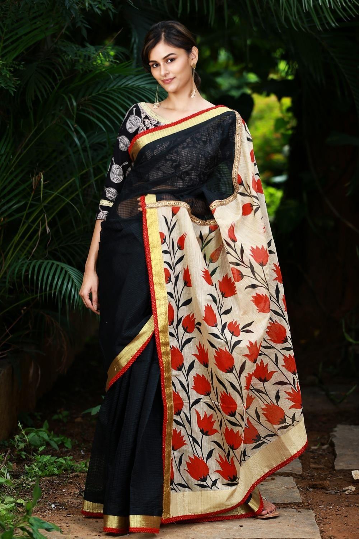d13c2c048d16cf Black chanderi cotton saree with zari border and beige floral printed pallu# saree #blouse #houseofblouse #indian #bollywood #style #designer #black  #red ...